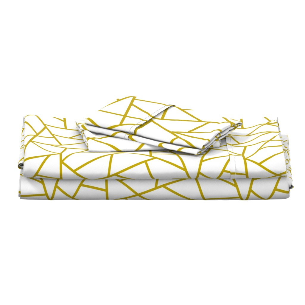 Langshan Full Bed Set featuring Abstract Geometric Gold on White Large by sierra_gallagher