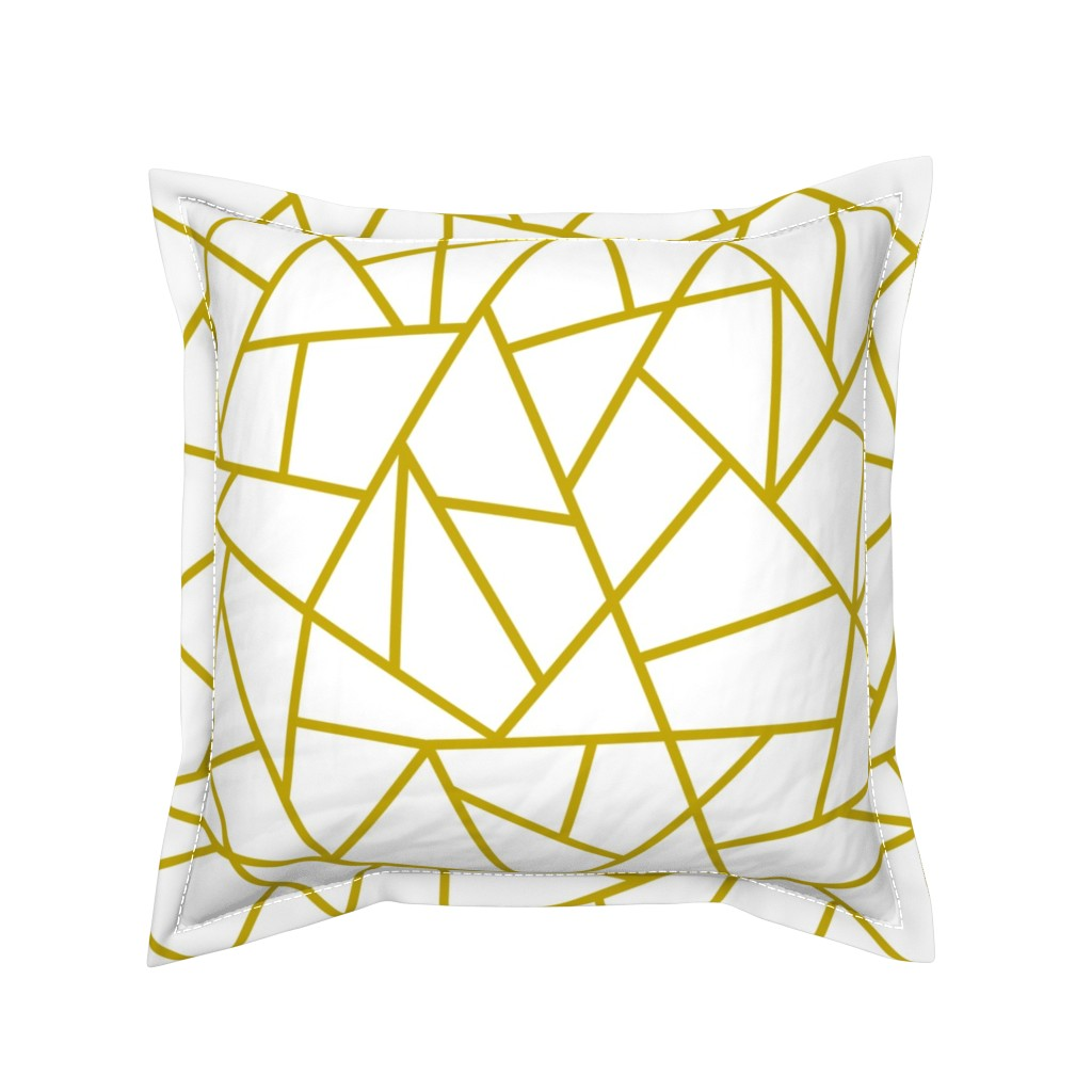 Serama Throw Pillow featuring Abstract Geometric Gold on White Large by sierra_gallagher