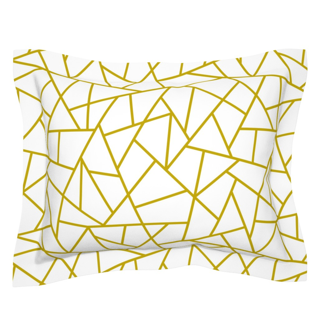 Sebright Pillow Sham featuring Abstract Geometric Gold on White Large by sierra_gallagher