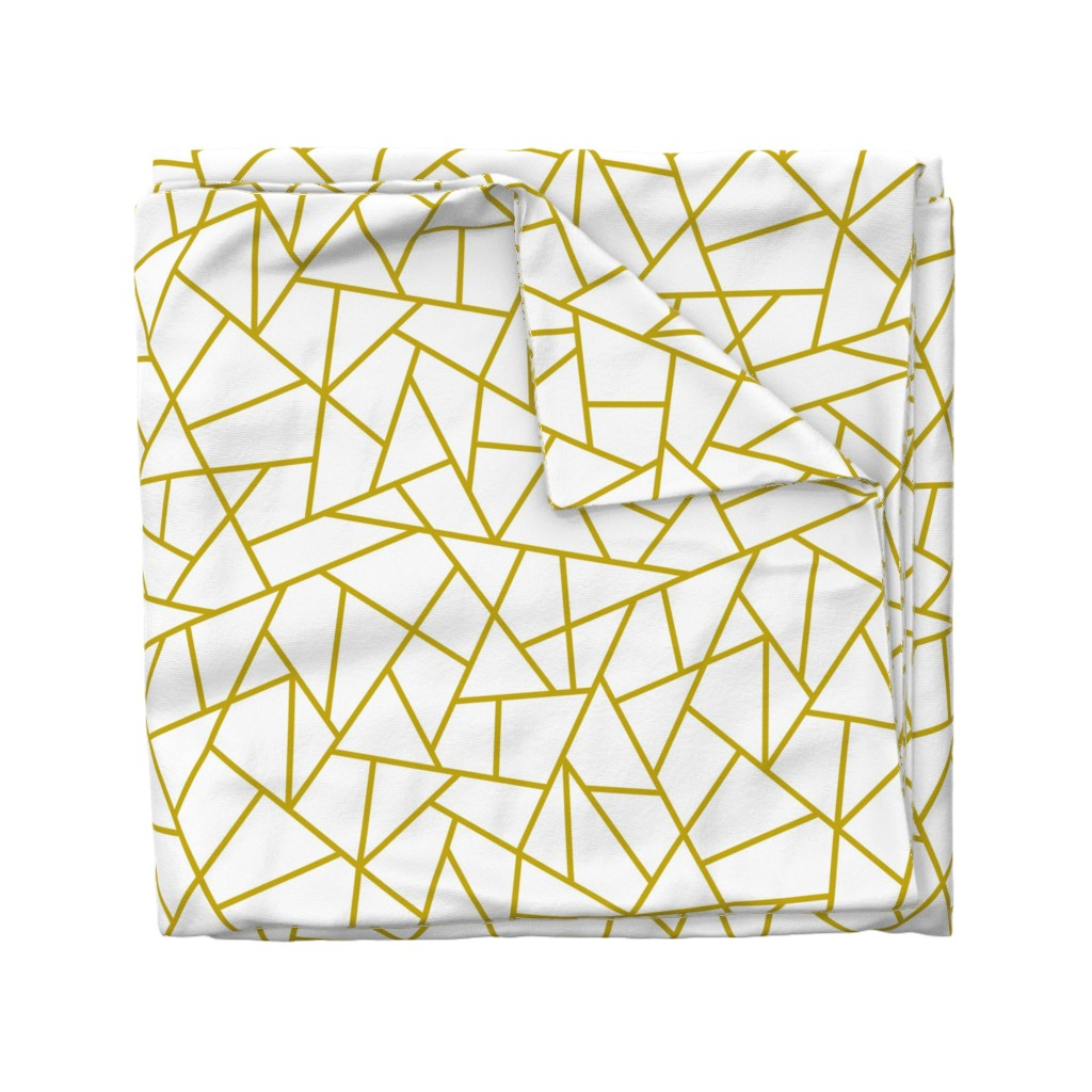 Wyandotte Duvet Cover featuring Abstract Geometric Gold on White Large by sierra_gallagher