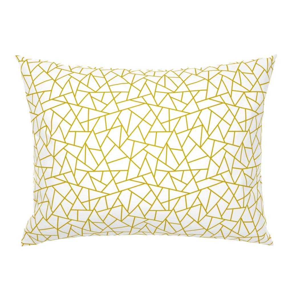 Campine Pillow Sham featuring Abstract Geometric Gold on White Small by sierra_gallagher