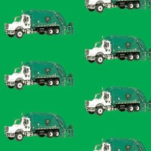 Tossed Garbage Trucks on  Kelly Green