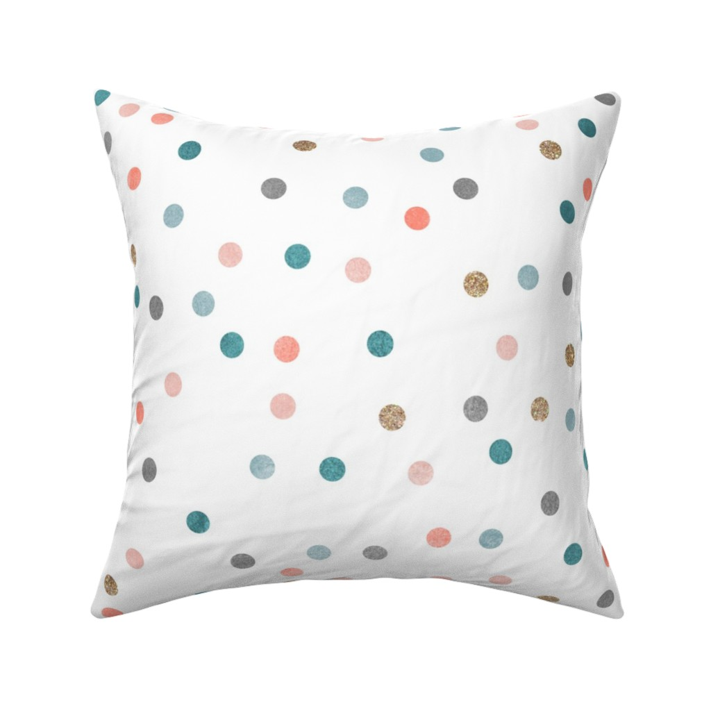 Catalan Throw Pillow featuring Glitter polka dots by nouveau_bohemian