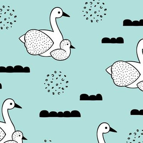Geometric Scandinavian style spring swan birds mother and baby blue Large