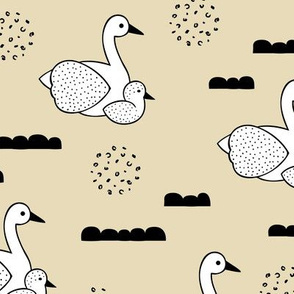Geometric Scandinavian style spring swan birds mother and baby pastel yellow LARGE
