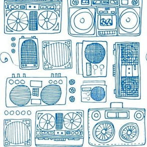 Drawing of Boom Boxes (in royal blue)