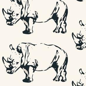 Rhinoceros in Charcoal Black on Cream