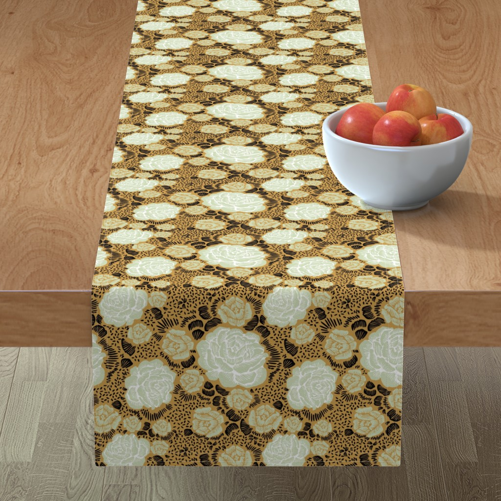 Minorca Table Runner featuring Rose Remix - caramel/sage/black by cinneworthington