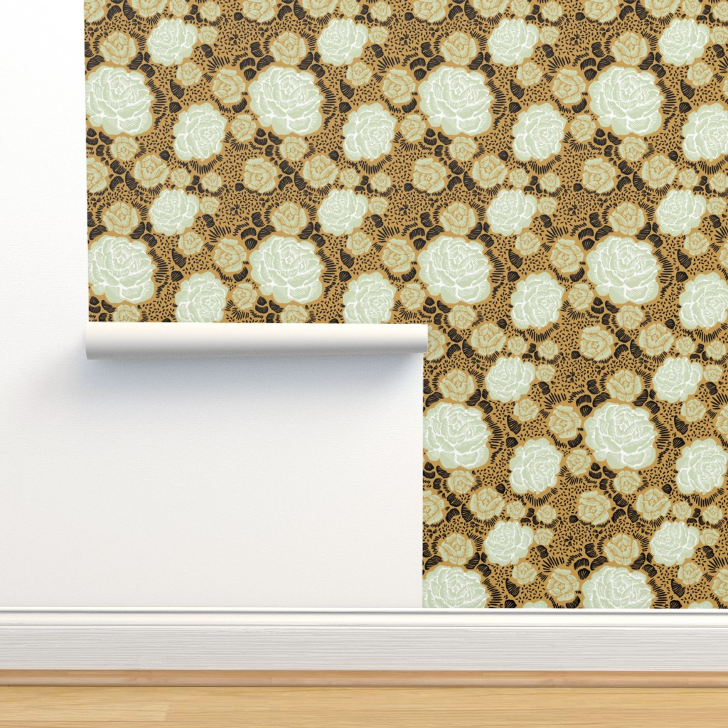 Isobar Durable Wallpaper featuring Rose Remix - caramel/sage/black by cinneworthington