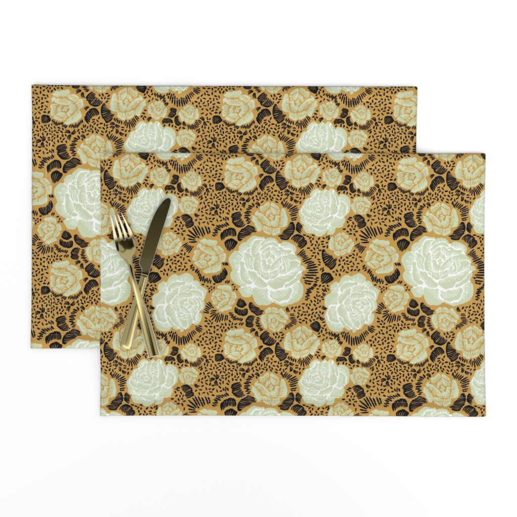 Lamona Cloth Placemats featuring Rose Remix - caramel/sage/black by cinneworthington