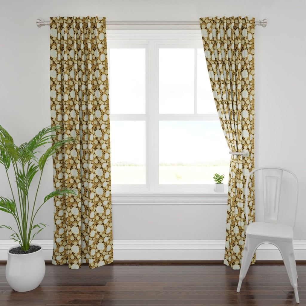 Plymouth Curtain Panel featuring Rose Remix - caramel/sage/black by cinneworthington