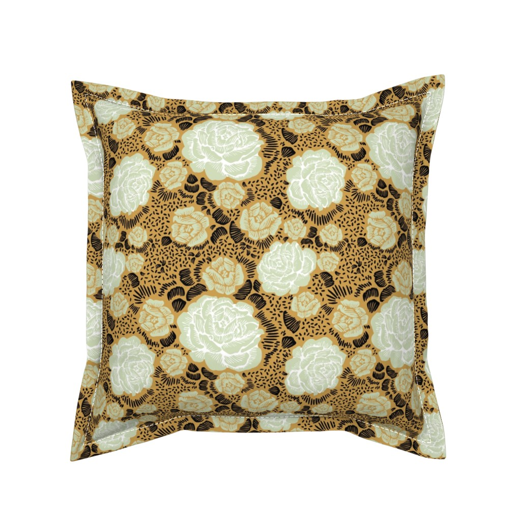 Serama Throw Pillow featuring Rose Remix - caramel/sage/black by cinneworthington