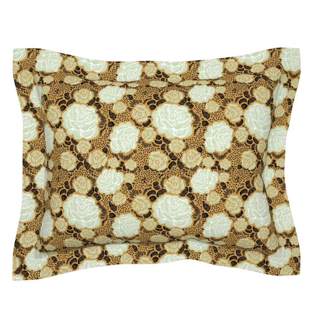 Sebright Pillow Sham featuring Rose Remix - caramel/sage/black by cinneworthington