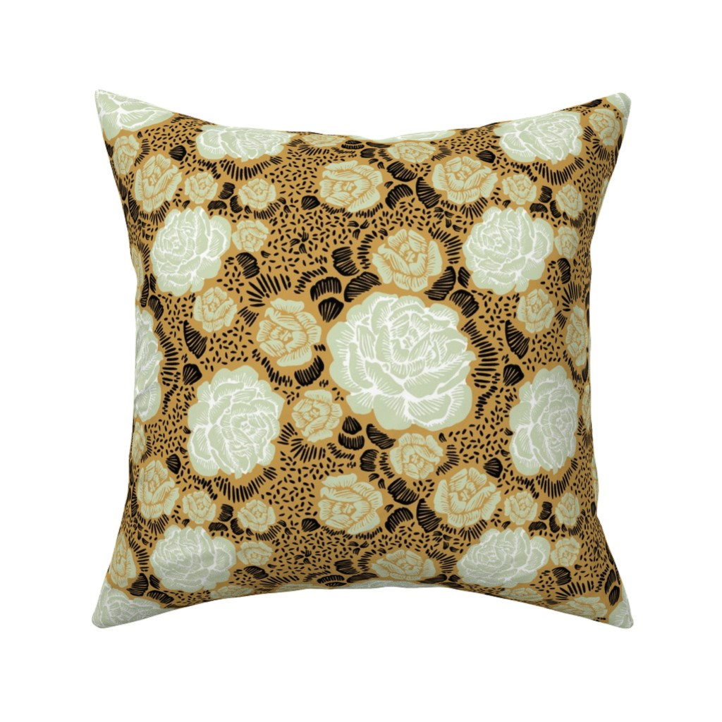 Catalan Throw Pillow featuring Rose Remix - caramel/sage/black by cinneworthington