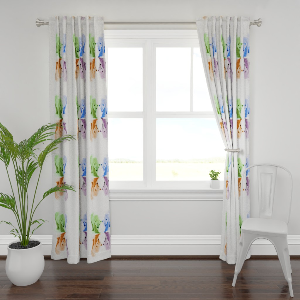 Plymouth Curtain Panel featuring Blur Bears by tetonbadger