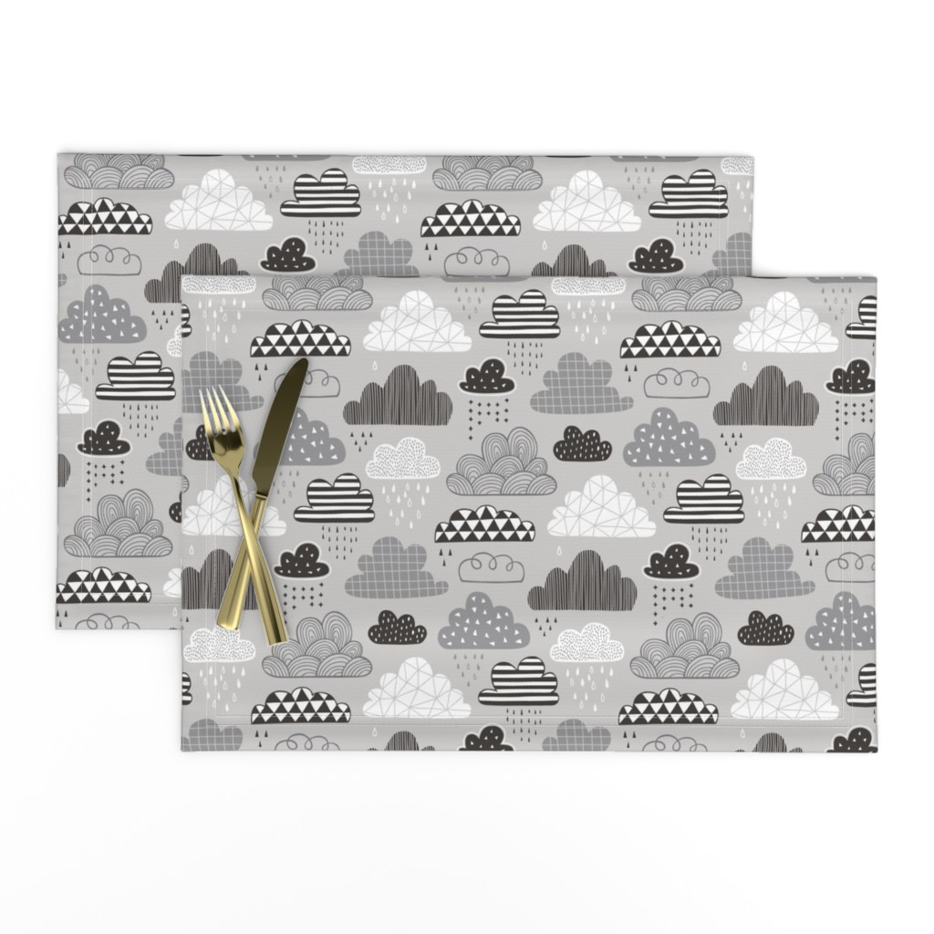Lamona Cloth Placemats featuring Clouds Geometrical in the Sky Black white on Grey by caja_design