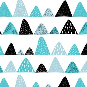 Abstract textured mountain range winter woodland abstract triangles scandinavian style fabric blue
