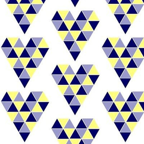 Navy and Yellow Geometric Hearts