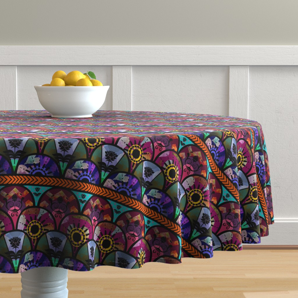 Malay Round Tablecloth featuring Bold Boho Beauty by cherie