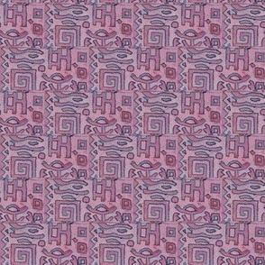 greek block print in pink
