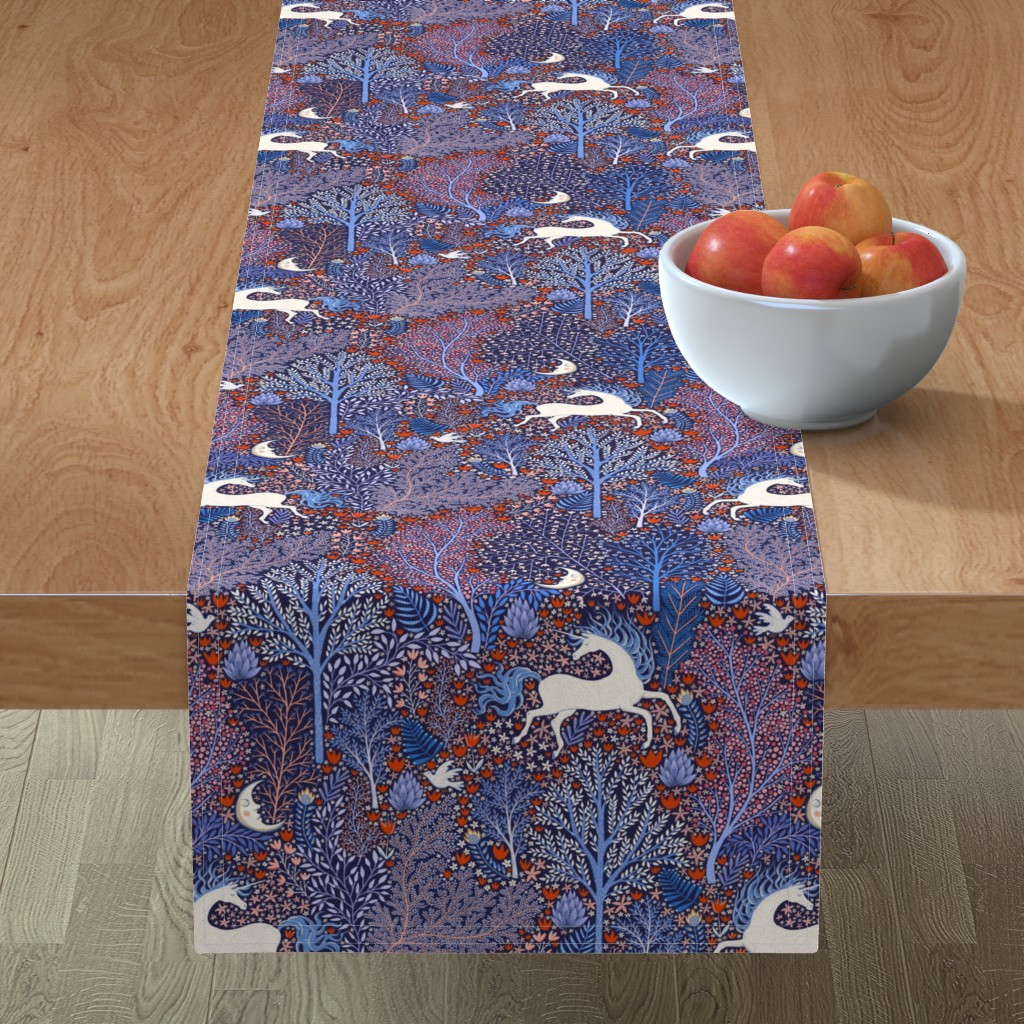 Minorca Table Runner featuring Unicorns in nocturnal forest by rebecca_reck_art