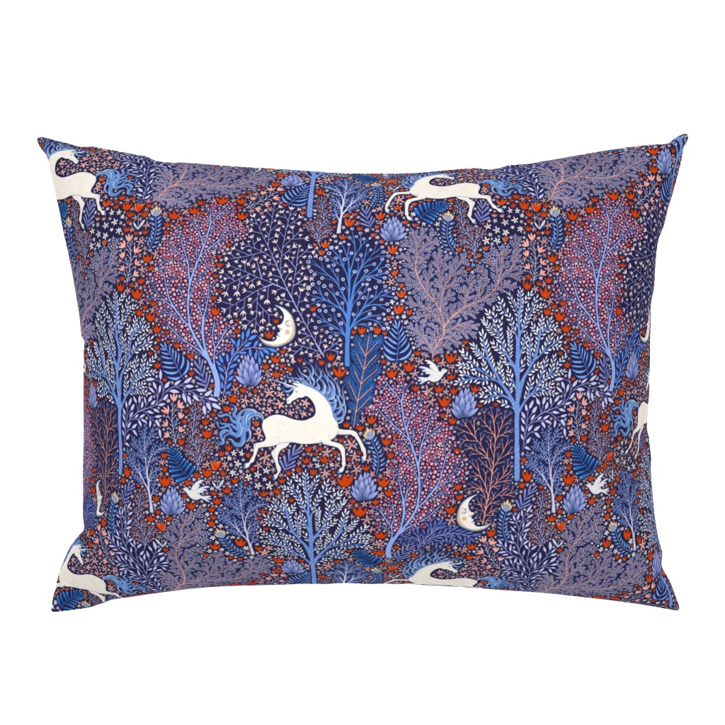 Campine Pillow Sham featuring Unicorns in nocturnal forest by rebecca_reck_art