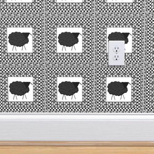 Wallpaper Black Sheep Quilt Block 8x 8