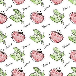 Hand drawn tomato and salad pattern