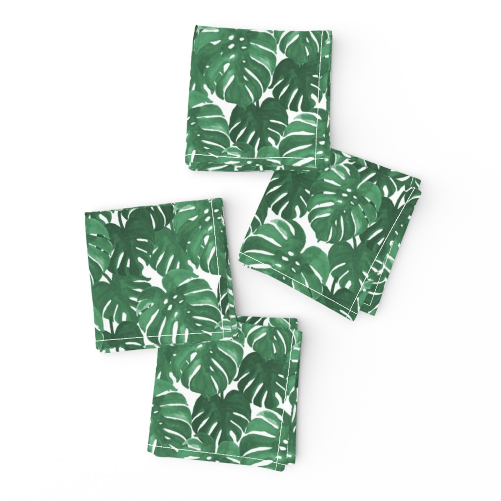 Frizzle Cocktail Napkins featuring monstera cheese plant painted tropical palms botanical tropical palm springs trendy plants cactus succulents plants by charlottewinter