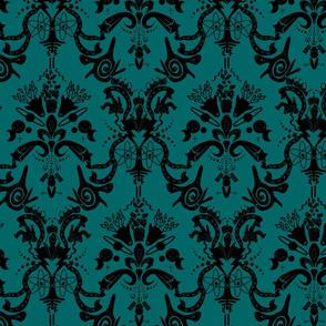 Cosmic Damask Space Dark Turquoise