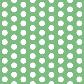 Light Green with White Polk A Dot