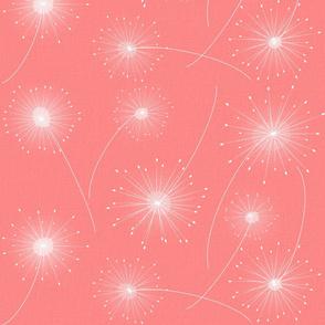 Retro Pink Dandelion Clocks