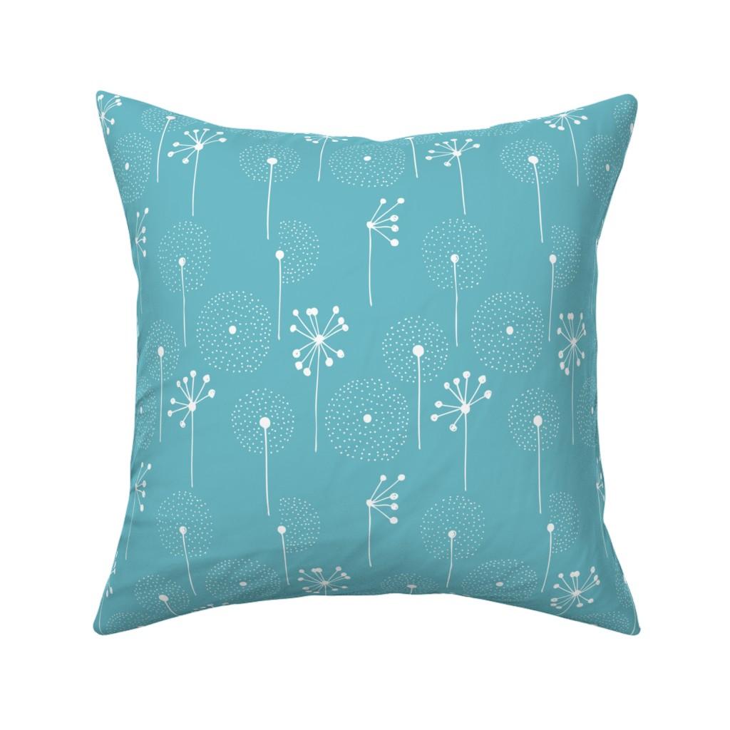 Catalan Throw Pillow featuring Scandinavian dandelion flower blossom garden summer fall blue by littlesmilemakers