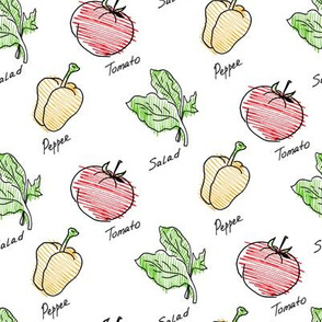 Hand drawn tomato and pepper seamless pattern