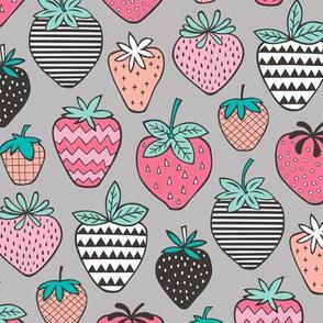 Strawberries Strawberry Geometric  on Grey