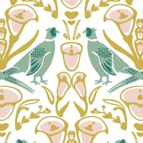 Damask pheasants yellow and mint