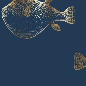 Gold Puffer Fish Blowfish on Navy Pufferfish