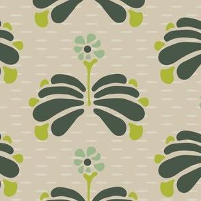 16-06U Large Retro Folk Floral Birch Bark  || Forest green mint lime Brown Khaki Tan  LG_Miss Chiff Designs