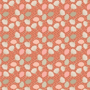 16-06S Fall Folk Leaves || Autumn tree leaf peach coral tan taupe cream Birch tree bark_Miss Chiff Designs