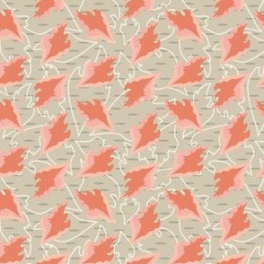 16-06R Peach Leaves on tan_Miss Chiff Designs