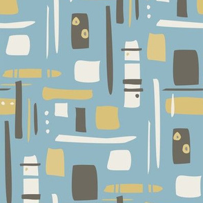 retro pattern - blue
