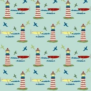 lighthouse and rowboat - blue