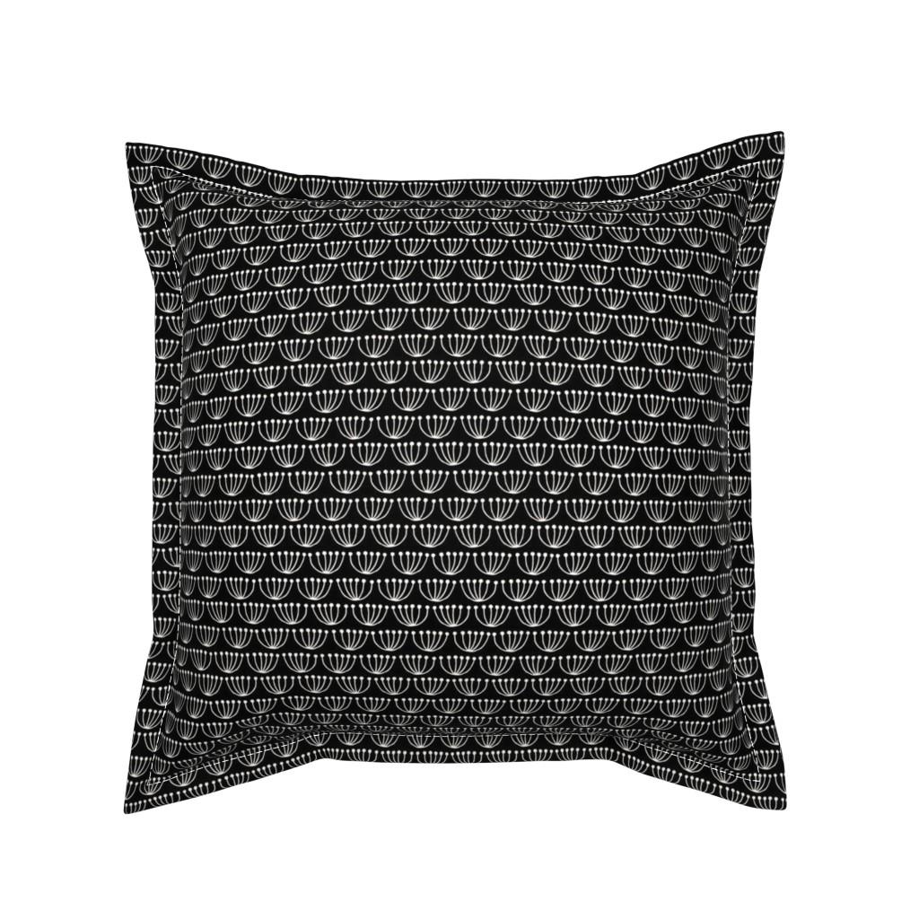 Serama Throw Pillow featuring Mermaid flowers on black by heleen_vd_thillart