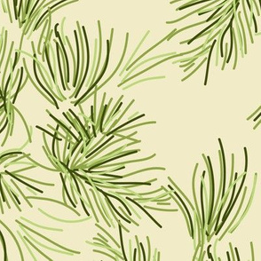 16-19F Cream Pine Tree || Needle Pinecone Green Winter Mountain Traditional Evergreen Fir_Miss Chiff Designs