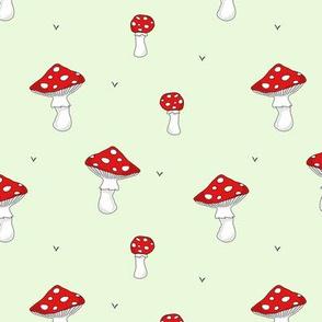 Mushrooms // red green swedish scandinavian forrest fungi food print design