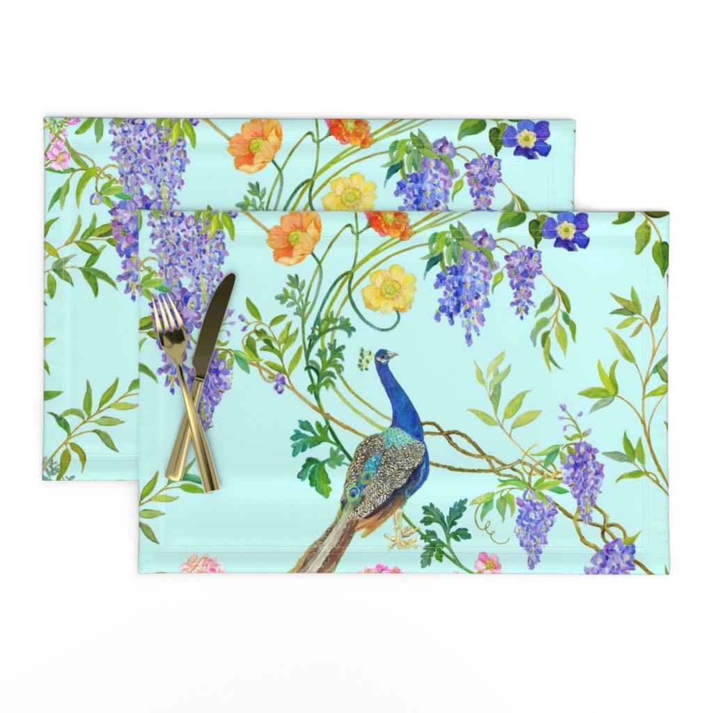 Lamona Cloth Placemats featuring Peacock Chinoiserie  WALLPAPER by mcsparrandesign