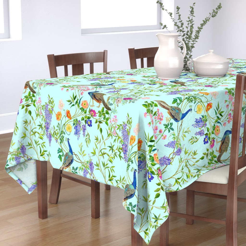 Bantam Rectangular Tablecloth featuring Peacock Chinoiserie  WALLPAPER by mcsparrandesign