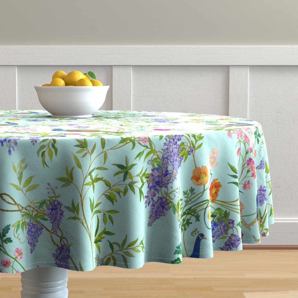 Malay Round Tablecloth featuring Peacock Chinoiserie  WALLPAPER by mcsparrandesign