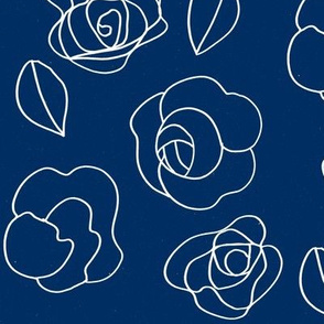 Flower drawing (white on navy)