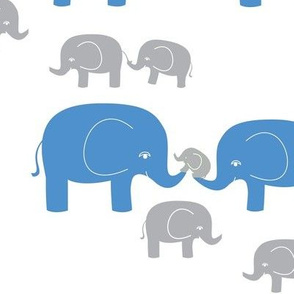 Elephant Family in Blue and Gray
